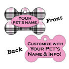 Double Sided Plaid Pattern Pet Id Dog Tags Personalized w/ 4 Lines of Text