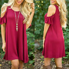 New Women Ladies Cold Cut Shoulder Hem Top Summer Tunic Flared Loose Beach Dress