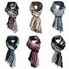 Mens Tartan Print Crinkled Scarf Soft Lightweight Wrap Long Scarves Fashion Gift