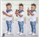 3PCS Toddler Kids Baby Boys Tops T-shirt+Scarf+Denim Pants Clothes Suit Outfits