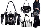 Restyle Gray Lolita Doll Print Cameo Black White Stripes Gothic Bag Handbag