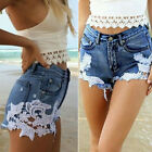New Ladies Womens Blue Lace Denim Shorts High Waisted Ripped Sexy Hotpants Jeans