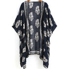 Women Tops Navy Vintage Floral Print Half Sleeve Open Front Cardiga
