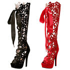 MT8 Women High Heels Knee Boot Platform Sandal Strappy Hollow Out Shoes Peep Toe