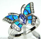 Tanzanite & Blue Fire Opal Inlay 925 Sterling Silver Butterfly Ring size 6-9