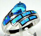 London Blue Topaz & Blue Fire Opal Inlay 925 Sterling Silver Ring size 6, 8, 9
