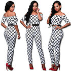 Hot Selling Casual Slash Neck Plaid Bodycon Women Jumpsuits Short Sleeve Off the