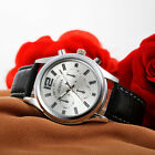 Luxury GENEVA Men's Analog Quartz Leather Watch Stainless Steel Wrist Watches
