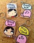 Keyring with Hand-painted Thai Cartoon MDF Wood Bangkok Thailand Collectables