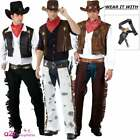 Mens Adult Cowboy Costume + Hat Wild West Western Sheriff Fancy Dress Outfit