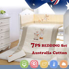 7pcs Baby Crib Bedding set Bumpers Quilt Pillow Cot Sheet Newborn Gift Cotton Ne