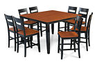 "M&D FURNITURE 54"" SQUARE COUNTER HEIGHT PUB DINING TABLE CHAIR SET"