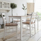 White Wooden dining table and 4 chairs set kitchen