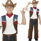 Kids Texan Cowboy Costume Boys Cowboy Fancy Dress Texas Wild West Smiffys 24666