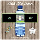 SCIENCE BOYS BIRTHDAY PARTY PEEL & STICK PERSONALISED WATER BOTTLE LABELS X 5