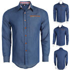 New Men Denim Jeans Slim Fit Long Sleeve Casual Formal Shirt Dress T Shirts Tops