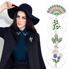 18k Gold Plated Green Crystal Pearl Flower Fan Collar Brooch Shirt Lapel Pin
