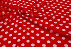Double Sided Supersoft Cuddlesoft Fleece Fabric Material - RED WHITE SPOT