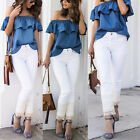 Women Fashion Ruffle Off Shoulder Tops Casual Party Jeans Shirt Denim Blouse