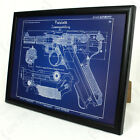German Luger P08 Pistol Framed Blueprint - Print Picture WW2 Rifle Gun Army New