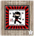 NINJA BIRTHDAY PARTY PERSONALISED SQUARE GLOSS PARTY STICKERS X 12