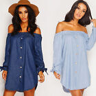 Womens Off The Shoulder Button Denim Look Shirt Mini Dresses Tops Blouses S - XL