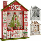 Wooden House Advent Calendar Christmas Decoration Red White Silver Beige