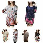 Women's Long Sleeve Pattern Printed Loose Tunic Knitted Blouse T-shirt Tops New