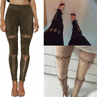 WOMENS HIGH WAISTED SKINNY BANDAGE JEANS LACE UP PENCIL JEGGINGS LADIES S M L XL