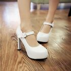 New Ladies High Block Heel Platform Ankle Strap Party Wedding Shoes Womens Pumps