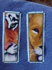 finished cross stitch bookmark  lion and tiger