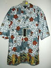 NEW size L STONE ICONS & HIBISCUS HAWAIIAN SHIRT by MONTAGE microfiber fabric