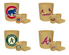BEIGE MLB LOGO THEME 4 PC BATHROOM SET TRASH CAN TOOTHBRUSH HOLDER CUP SOAP DISH