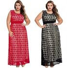 Plus Size Black/Red Floral Lace Maxi Evening Dress Gown Party Prom Gala Dinner