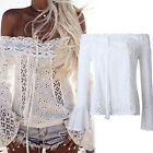 Womens Lace Up Cold Off Shoulder Long Sleeve Tops Blouse Beachwear Tee UK S ~ XL