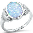 Fashion Ring Oval Created Opal Round CZ 925 Sterling Silver Choose Color