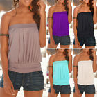 New Womens Strapless T-shirt Bandeau Plain Tube Top Tank Ladies Blouse Vest Tee
