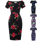 Vintage Retro 1950s Rose Floral Body Pencil Formal Tight Evening Midi Dress New