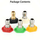 5pcs Pressure Washer Spray Nozzles Tip Set Variety Degrees Quick Connect Rinse