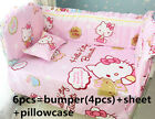 Baby Crib Hello Kitty Bedding Set 6 PCS = 4 Bumpers + Sheet + Pillow Cover