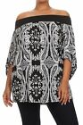 PLUS SIZE SEXY BLACK WHITE PAISLEY OFF SHOULDER BOHO TOP SHIRT TUNIC 1X 2X 3X