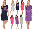Womans Cotton Slogan Night Shirt Dress Ladies Top T Shirt Sleepwear Plus Sizes