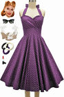 50s Style Eleanor Paige PINUP Purple Polka Dots SWEETHEART Bust HALTER Sun Dress