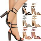 Womens Block High Heel Ankle Strap Sandals Ladies Peep Toe Party Shoes Size 3-8