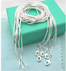 wholesale 925sterling solid Silver lots 5pcs 1mm snake chain Necklace 16-30inch