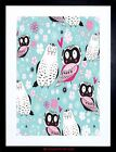 PAINTING ABSTRACT BIRD PIGEON OWL PATTERN DESIGN VECTOR FRAMED PRINT F12X4400