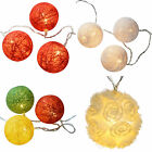 Cotton Ball Warm White Red Multi Colour LED Light String Christmas Decoration