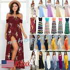 Us Women Boho Maxi Long Dress Evening Cocktail Party Summer Beach Sun Dress New