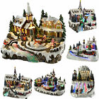 Pre-Lit LED Fibre OpticMusical Animated Christmas Village Scene Sleigh Train Riv