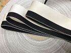 "Vintage 1940 Rayon 7/8"" Grosgrain Ribbon 1yd Stripe Cream White Black Made USA"